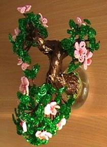 beaded peach blossom: bonsai seed beads